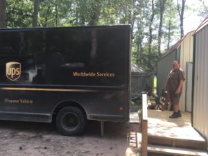 Dave, our UPS Guy, picking up packages.